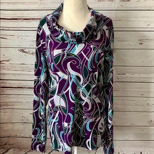 Anne Klein Purple Cowl Neck Top